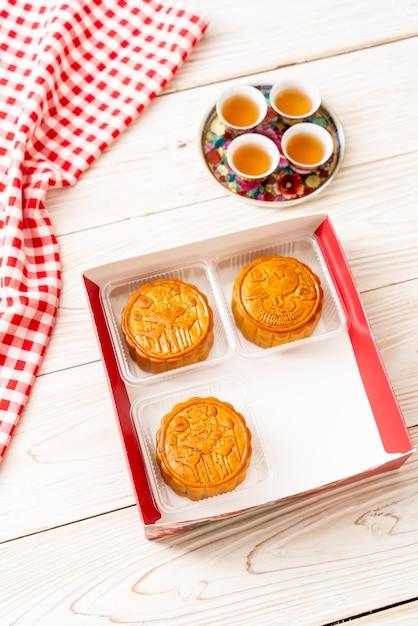 Gâteau de lune chinois pour le festival chinois de la mi-automne Photo Premium