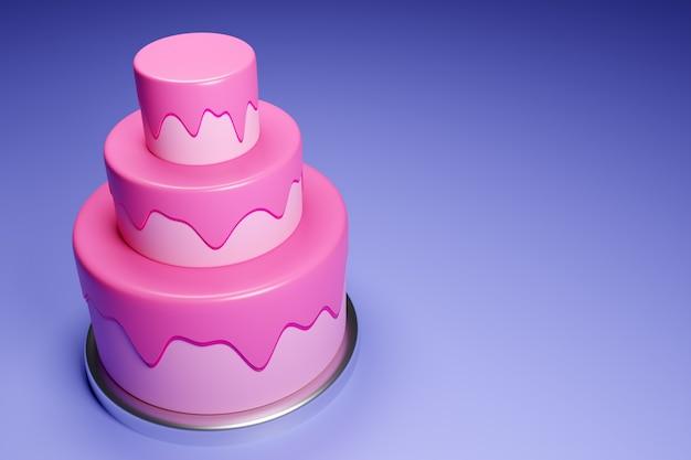Gâteau De Mariage à Trois Niveaux De Rendu 3d Photo Premium