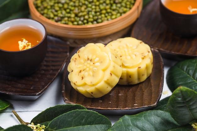 Gâteau Osmanthus Gourmet Traditionnel, Pâtisserie Chinoise Photo Premium