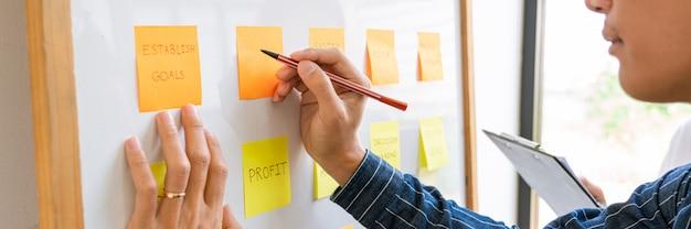 Les Gens D'affaires Organisant Des Notes Autocollantes Commentant Et Réfléchissant Sur Les Priorités De Travail Collègue Dans Un Espace De Coworking Moderne. Photo Premium