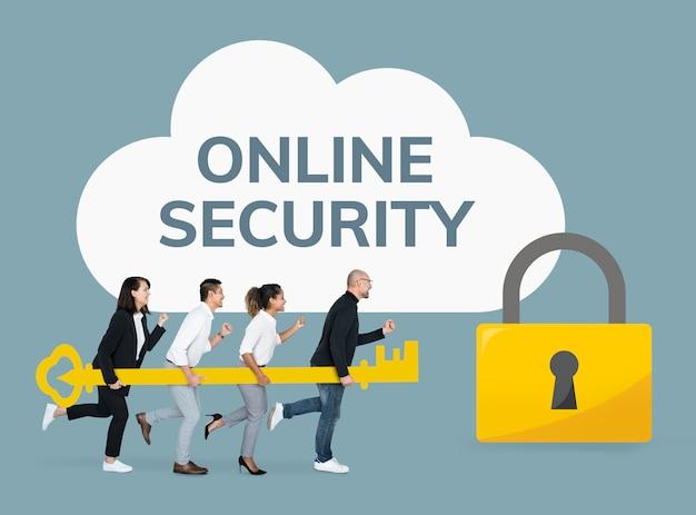 Gens d'affaires se concentrant sur la sécurité en ligne Photo gratuit
