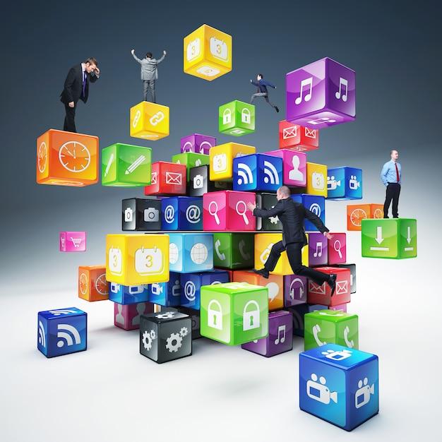 Gens sur les cubes d'icônes Photo Premium