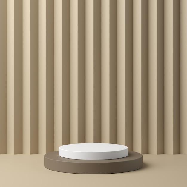Géométrie abstraite forme podium de couleur blanche et beige sur fond de couleur beige pour le produit. concept minimal. rendu 3d Photo Premium