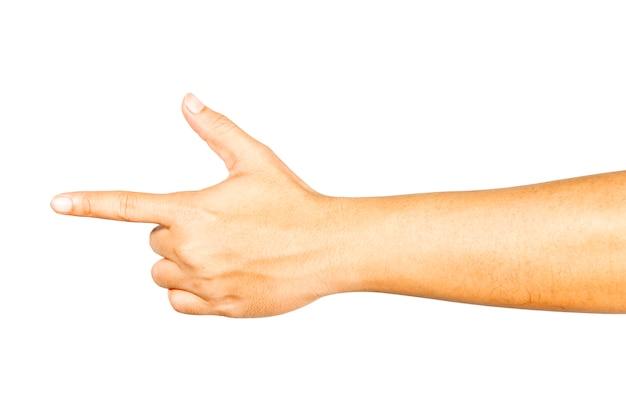 Le geste de la main qui pointe en avant. Photo Premium