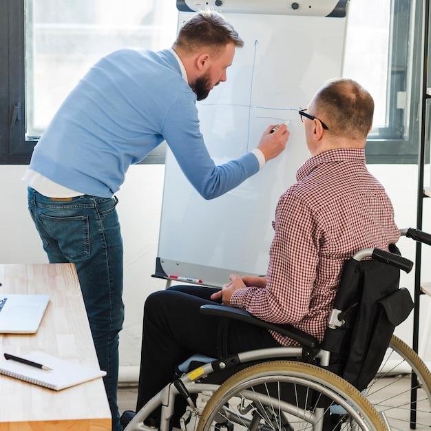 Un Gestionnaire Présente Un Projet à Un Travailleur Handicapé Photo gratuit