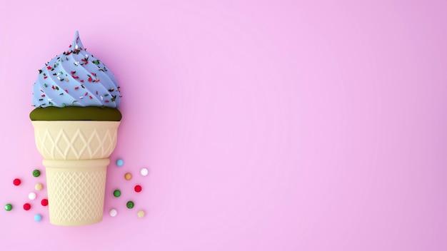 Glace au thé vert et glace bleu clair surmontée de desserts colorés sur fond rose Photo Premium