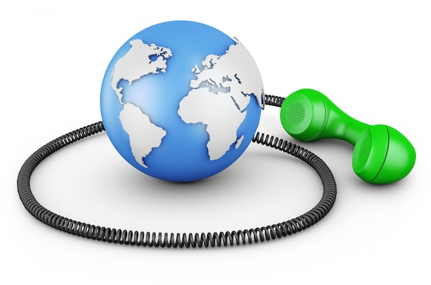 Le globe avec un combiné. Photo Premium