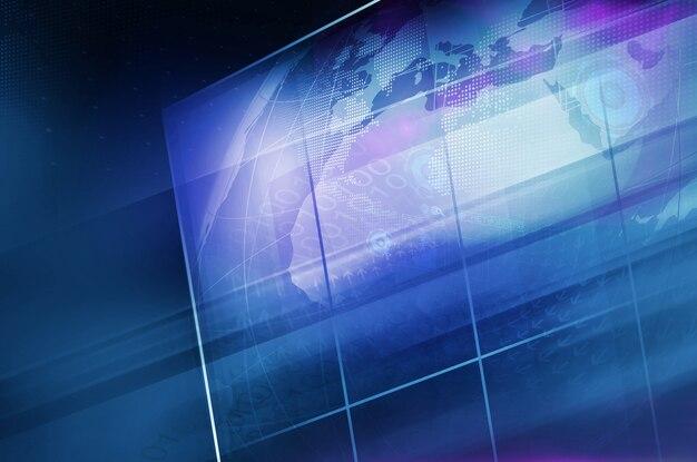 Globe terrestre à l'intérieur d'un grand écran plat avec grille Photo Premium