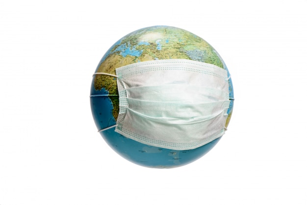 Globe Terrestre Avec Masque De Protection Photo Premium