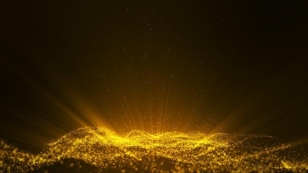 Glow Golden Poussière Particule Paillettes étincelles Abstrait Pour La Célébration Avec Faisceau Lumineux Et éclat Au Centre. Photo Premium
