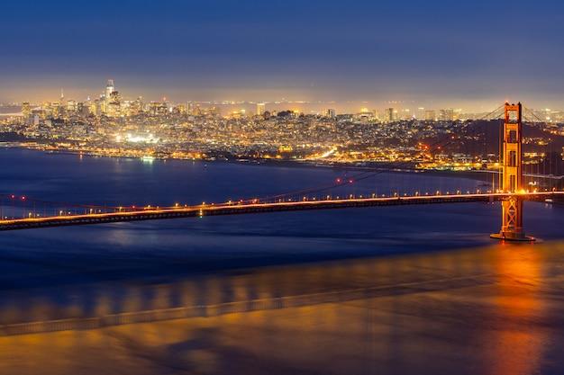 Golden Gate Bridge Night Photo Premium