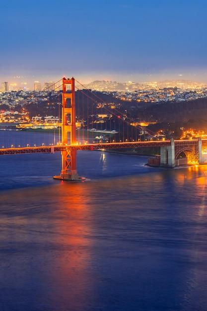 Golden Gate Bridge Sunset Photo Premium