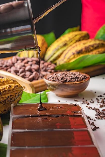 Gousses de fèves de cacao, morceaux de barres de chocolat, poudre de cacao Photo Premium