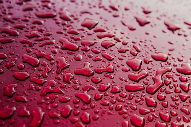 Gouttes d'eau sur une voiture rouge propre. résumé flou fond rouge. toit de voiture avec surface mouillée Photo Premium