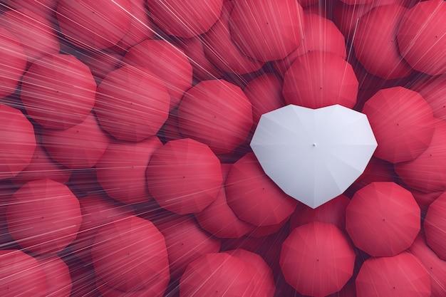 Gouttes de pluie tombant du haut du ciel sur le parapluie en forme de coeur, Photo Premium