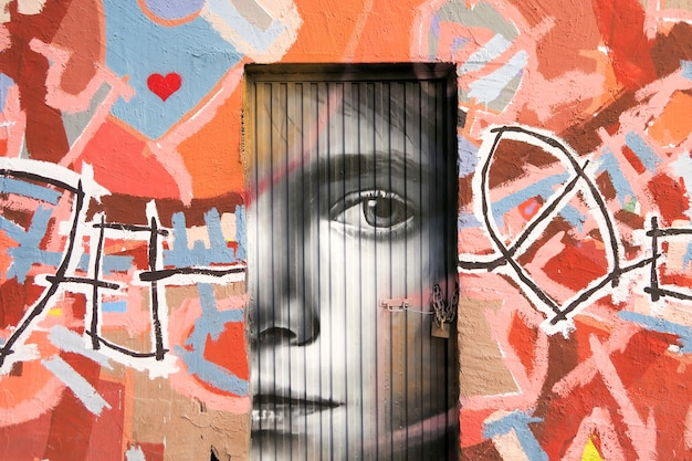 Graffiti dans une porte Photo Premium