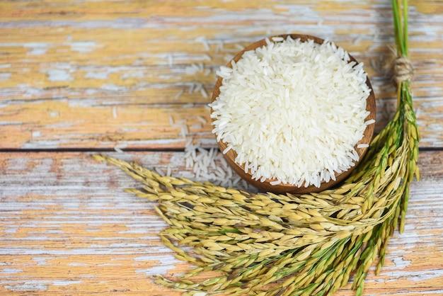Grain De Riz Au Jasmin Cru Avec Oreille De Paddy Produits Agricoles Pour L'alimentation En Asie - Riz Thaïlandais Blanc Sur Bol Et Fond De Bois Photo Premium