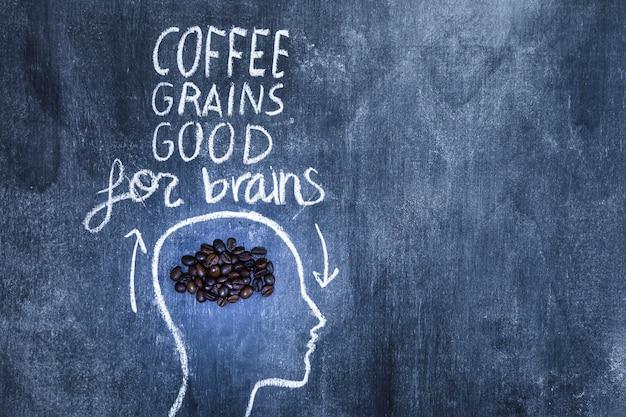 Grains de café bons pour le texte du cerveau sur la tête du contour avec de la craie sur le tableau noir Photo gratuit