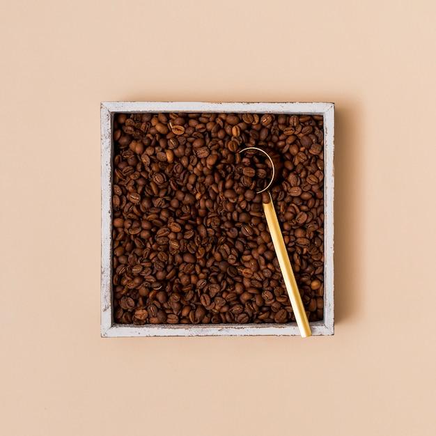 Grains de café dans un récipient Photo gratuit