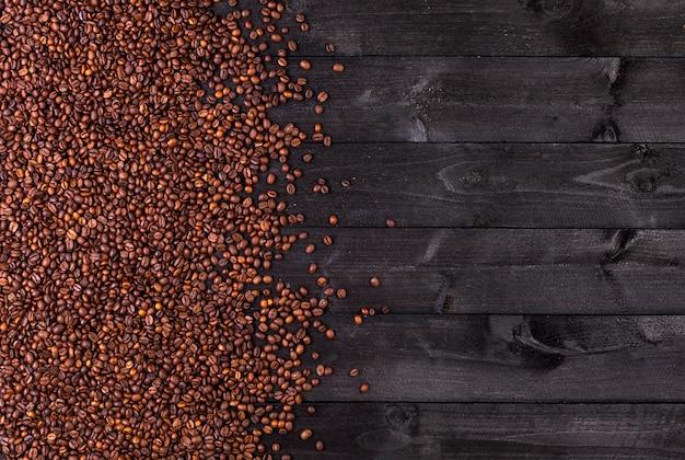 Grains de café. vue de dessus avec espace de copie Photo Premium