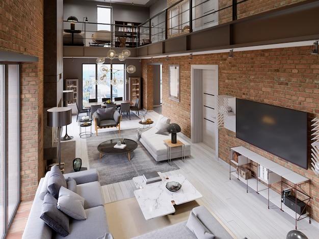 Grand Appartement Moderne De Style Loft Avec Canapés, Fauteuil, Cheminée, Mur De Briques, Table à Manger. Rendu 3d Photo Premium