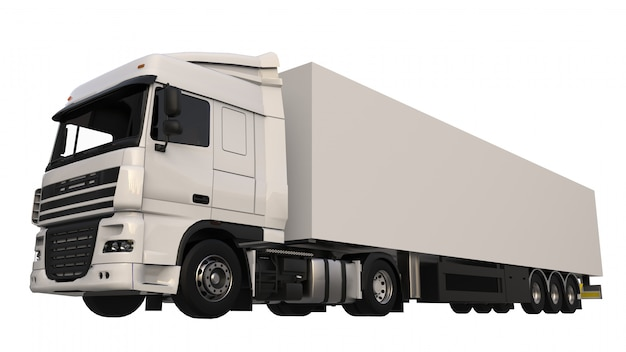 Grand camion blanc avec une semi-remorque. modèle pour placer des graphiques. rendu 3d. Photo Premium