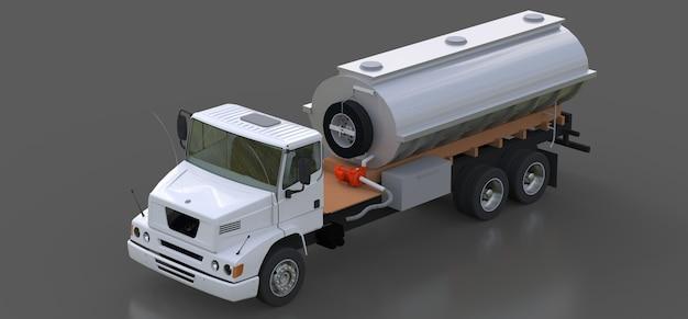 Grand Camion-citerne Blanc Avec Une Remorque En Métal Poli. Vues De Tous Les Côtés. Illustration 3d. Photo Premium