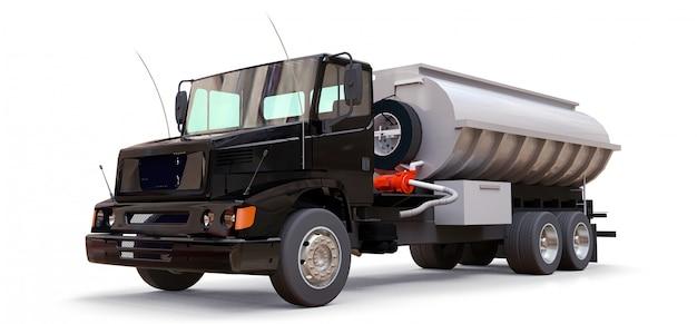 Grand camion-citerne noir avec une remorque en métal poli. vues de tous les côtés. illustration 3d Photo Premium