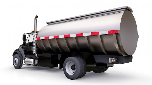 Grand camion-citerne noir avec une remorque en métal poli. vues de tous les côtés Photo Premium