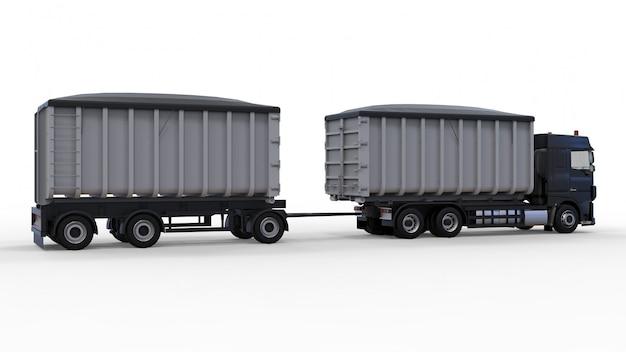 Grand Camion Noir Avec Remorque Séparée, Pour Le Transport De Matériaux Et De Produits Agricoles Et De Construction En Vrac Photo Premium