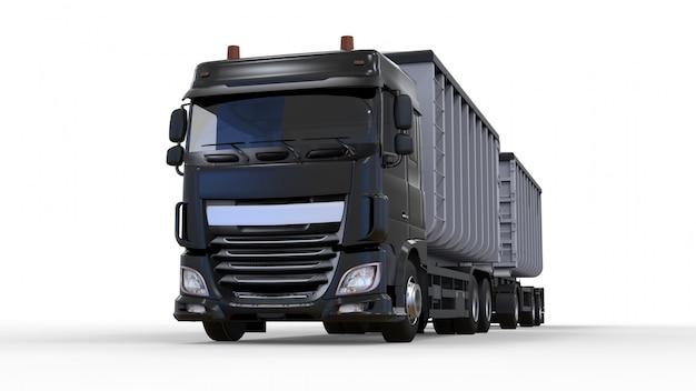 Grand camion noir avec remorque séparée, pour le transport de matériaux et de produits en vrac agricoles et de construction. rendu 3d. Photo Premium