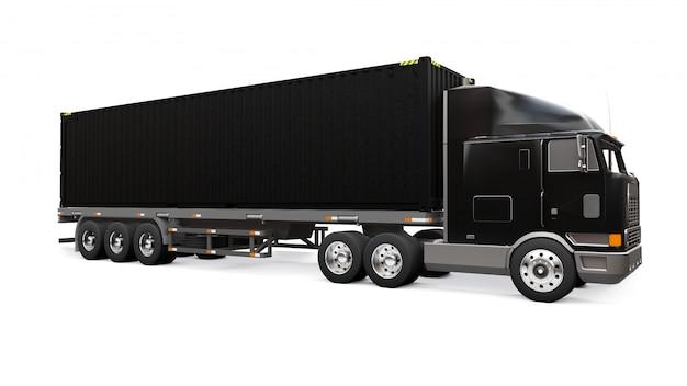 Un Grand Camion Noir Rétro Avec Une Partie Couchage Et Une Extension Aérodynamique Porte Une Remorque Avec Un Conteneur Maritime Photo Premium
