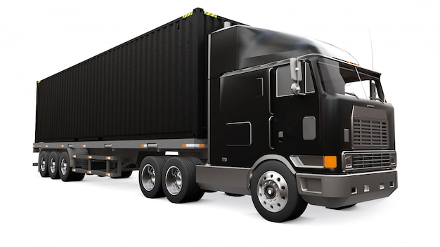 Un grand camion noir rétro avec une partie couchage et une extension aérodynamique transporte une remorque avec un conteneur maritime. rendu 3d. Photo Premium