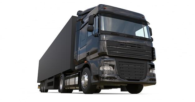 Grand camion noir avec semi-remorque modèle pour placer des graphiques Photo Premium