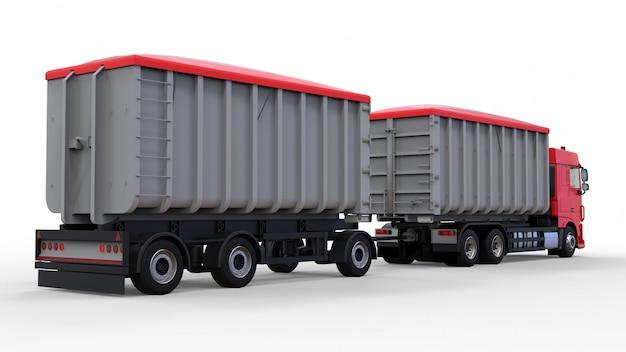 Grand Camion Rouge Avec Remorque Séparée, Pour Le Transport De Matériaux Et De Produits Agricoles Et De Construction En Vrac Photo Premium
