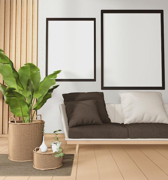 Grand Canapé Dans Une Chambre De Style Tropical Et Décoration De Plantes Sur Plancher En Bois Rendu 3d Photo Premium