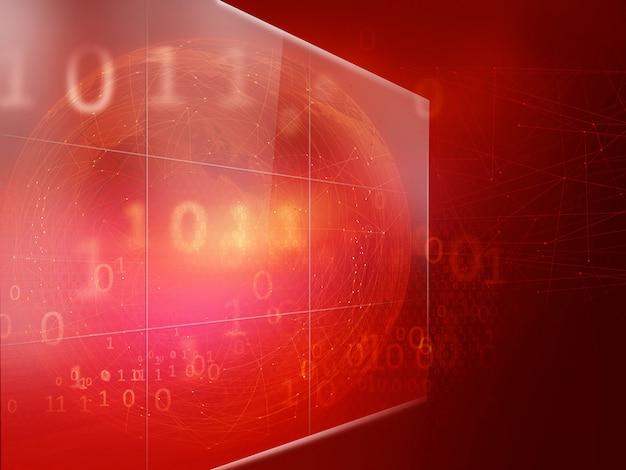 Grand écran numérique avec lignes de connexion et codes binaires Photo Premium