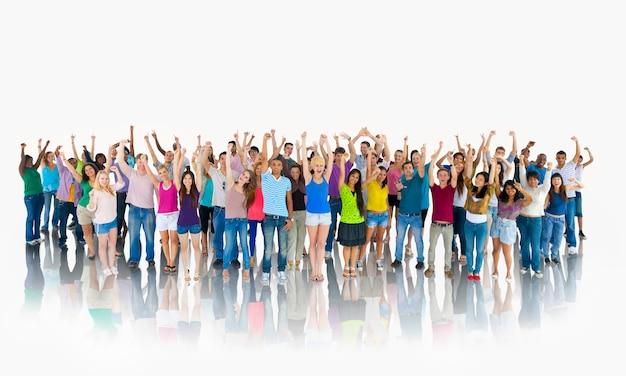 Grand groupe de personnes diverses Photo Premium