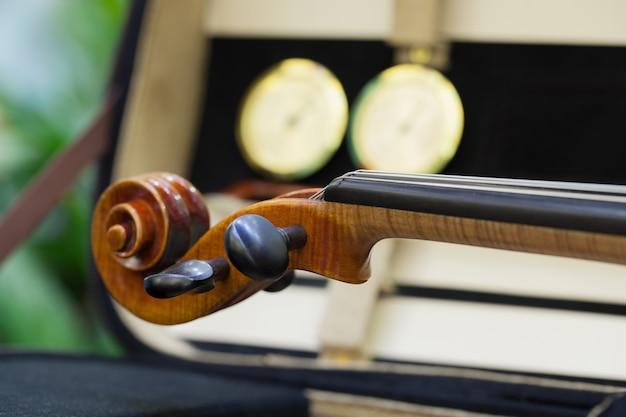 Grand plan, de, a, violon, peu profond, profond, de, champ Photo Premium
