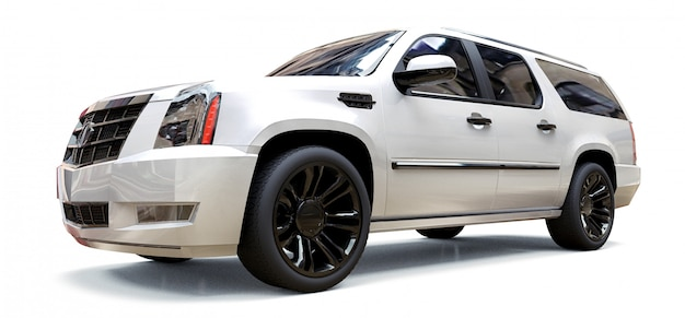 Grand suv premium blanc sur blanc Photo Premium