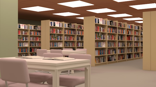 Grande Bibliothèque Avec Table, Chaises Et étagères. Photo Premium