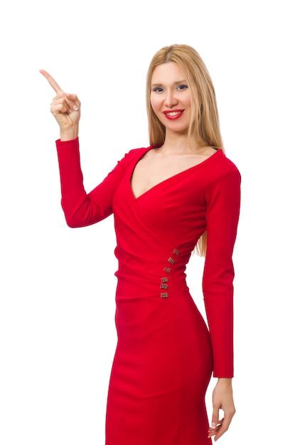Grande jeune femme en robe rouge isolé sur blanc Photo Premium