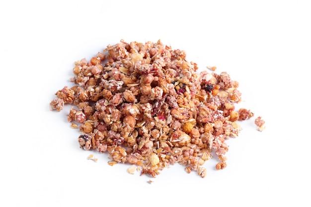 Granola petit déjeuner sain isolé sur blanc Photo Premium