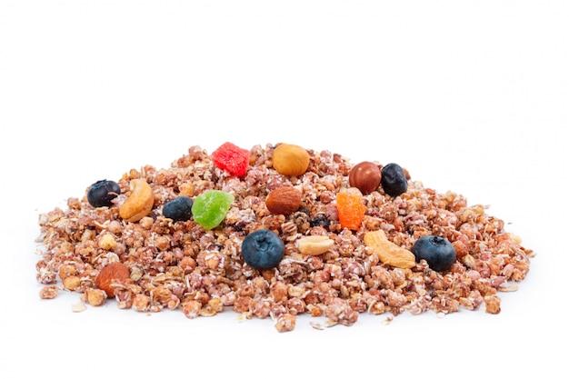 Granola petit-déjeuner sain isolé Photo Premium