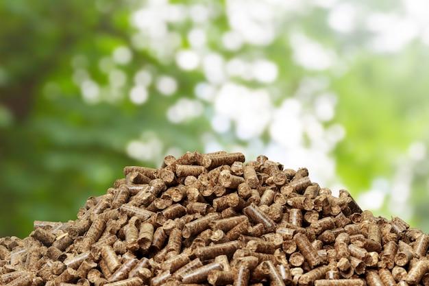 Granulés De Bois Sur Un Green. Biocarburants. Photo Premium