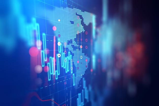 Graphique financier technique sur fond abstrait de la technologie Photo Premium