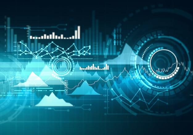 Graphique avec graphique en courbes de tendance à la hausse, diagramme à barres et diagramme en marché haussier sur fond bleu foncé. Photo Premium