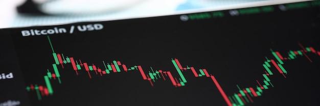 Graphique Précis De Gros Plan De Bitcoin En Dollar Photo Premium