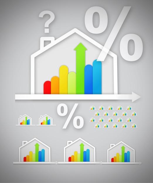 Graphiques de maison écoénergétiques avec question et pourcentage sur fond gris Photo Premium