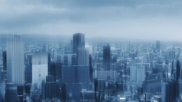 Gratte-ciel futuriste, construction de toits de la ville Photo Premium
